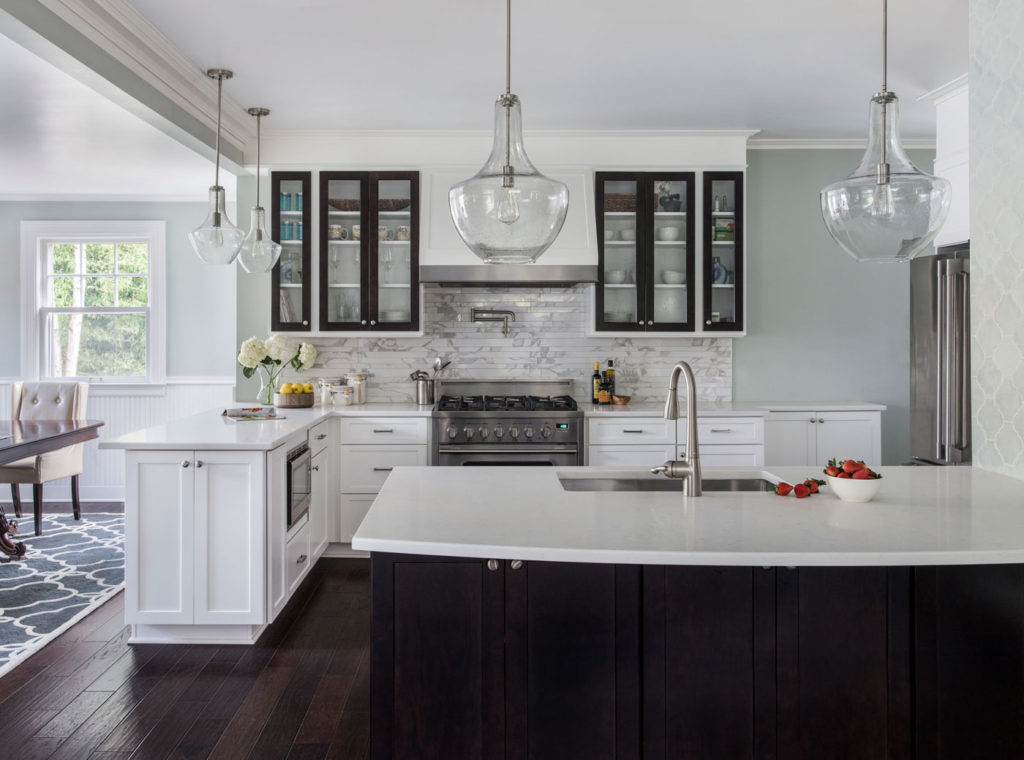 Kitchen Peninsula with Undermount Sink Moen Touchless Faucet