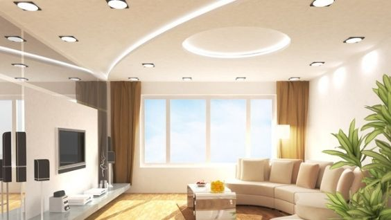 Потолок гипсокартон - фигура из гипсокартона, идеи оформления
