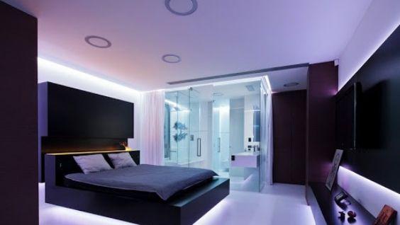 Обои в спальне в современном стиле комбинированные