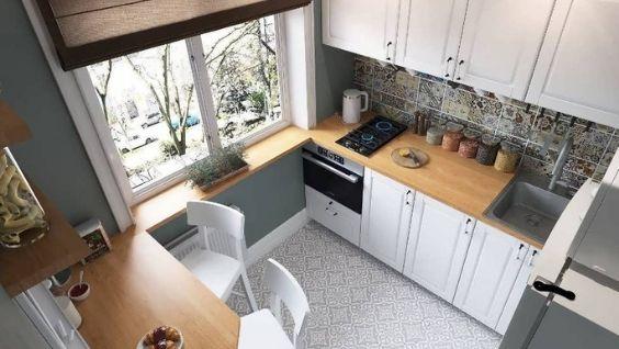 Маленькая кухня 5 метров - планировка с холодильником