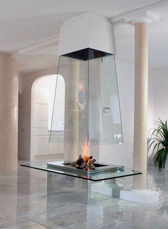 Фото стеклянных каминов