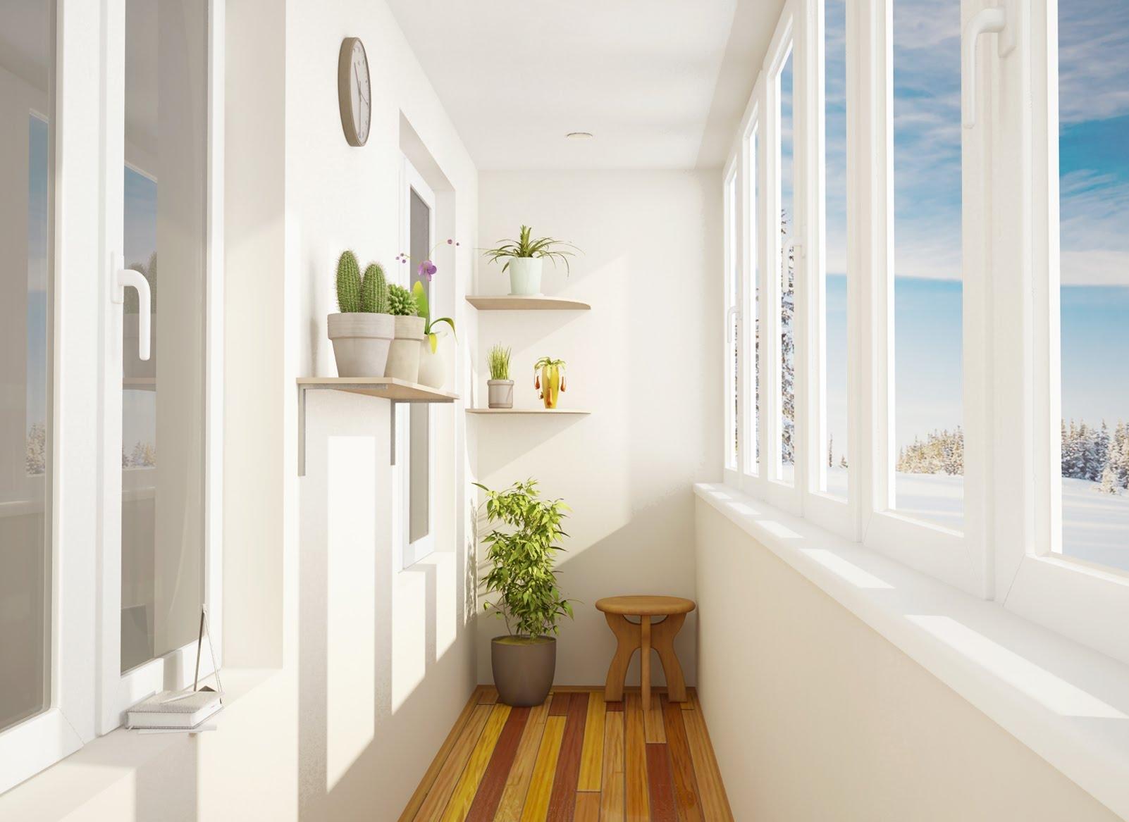 балкон в белых тонах