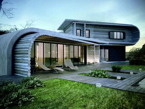 деревянный дом с панорамным окном